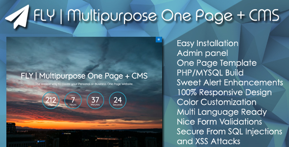 FLY | Multipurpose One Page + Admin Panel